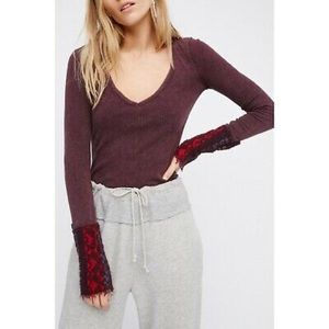 Free People Alpine Cuff V Neck Thermal Top Size M
